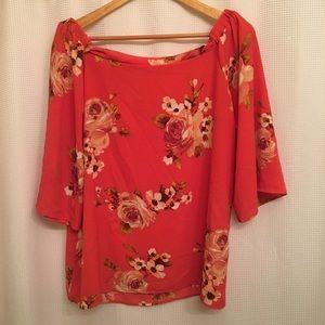 Orange Floral Off The Shoulder Half Sleeve